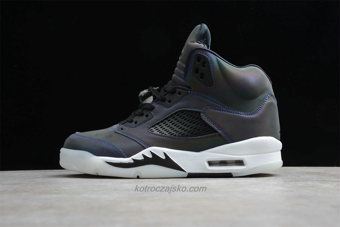Jordan 5 Retro 3M Svart / Hvit / Blå Basketball Sko (CD2722 001)
