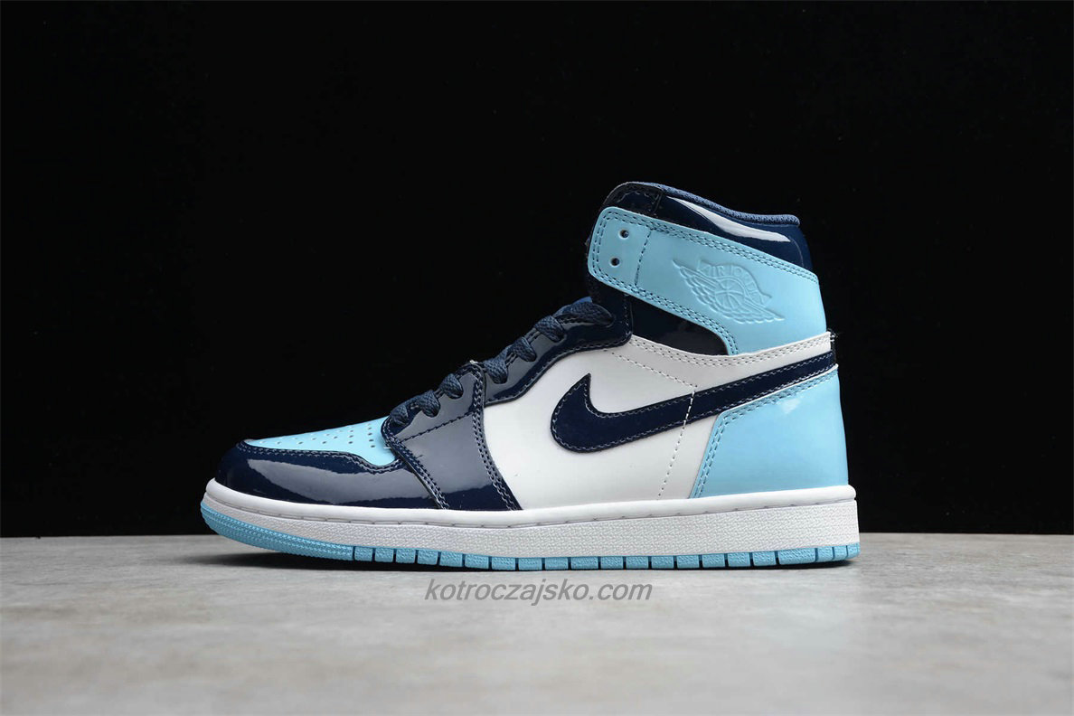 Jordan 1 High OG Blå/Hvit/Marineblå Basketball Sko (CD0463 401)