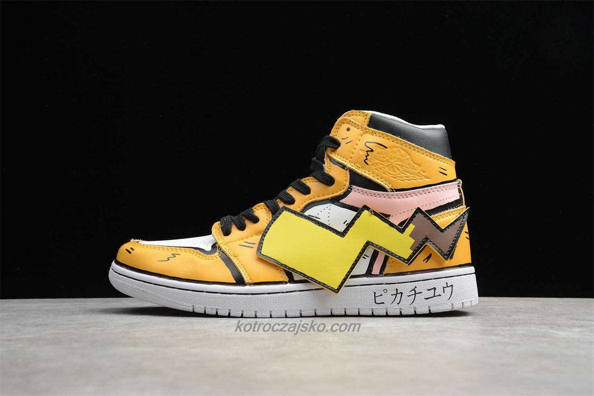 Detective Pikachu x Off-White Jordan 1 High Gul/Hvit Basketball Sko (556298 001)