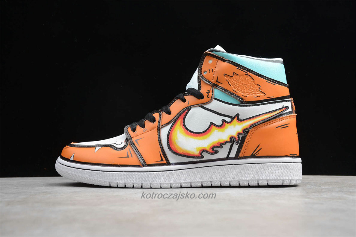 Jordan 1 High Fire Dragon Hvit/Oransje/Grønn Basketball Sko (556298 008)