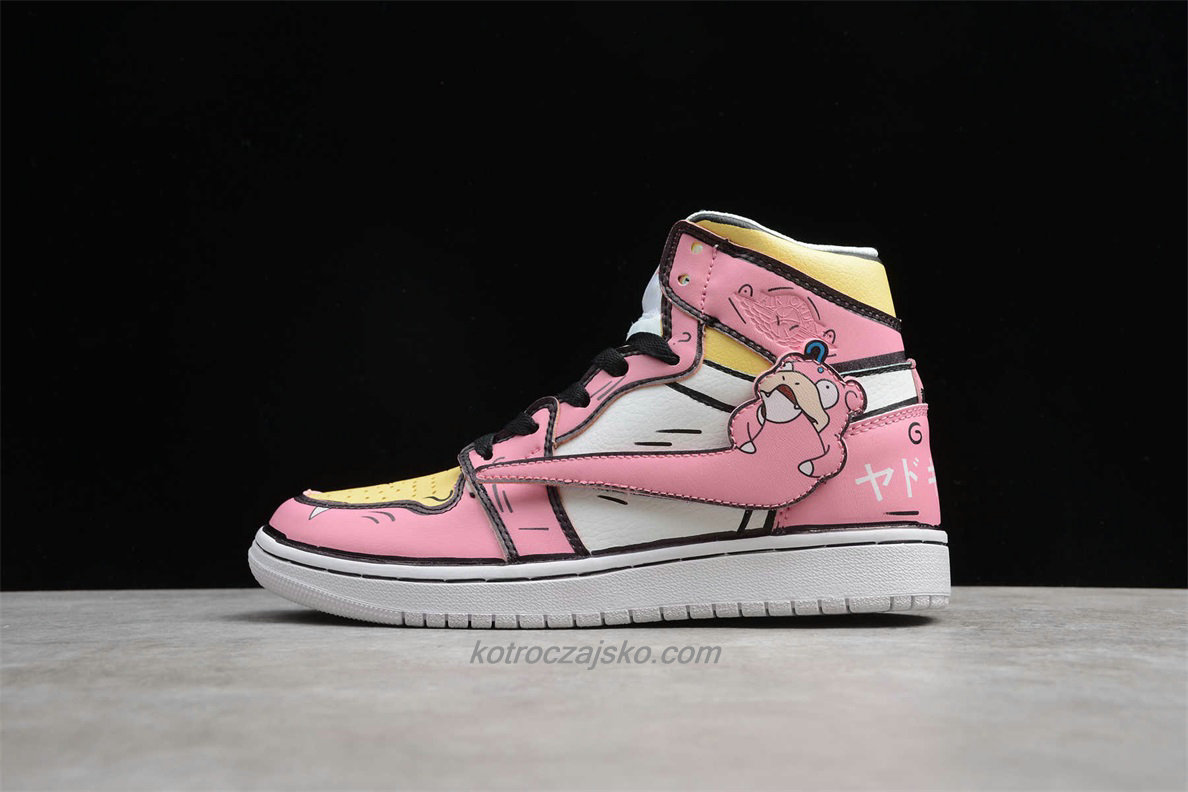 Jordan 1 High GS Dame Rosa/Gul/Hvit Basketball Sko (556298 009)